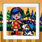 Sale 9047A - Lot 5004 - Romero Britto (1963 - ) - Girl With Dog 44 x 44 cm (frame: 63 x 63 x 6 cm)