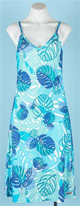 Sale 9091F - Lot 58 - A BLUE MAMBO GODDESS DRESS; shoe string straps, size 8