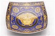 Sale 9057 - Lot 6 - Rosenthal Versace Blue Medusa Square Form dish (18cm x 18cm)