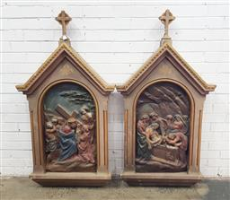 Sale 9142 - Lot 1080 - Pair of Carved & Painted Ecclesiastical Panels of the Stations of the Cross, including the 6th Station of Veronica wiping Jesuss fa...