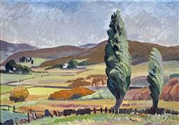 Sale 9142A - Lot 5010 - ADELAIDE PERRY (1891 - 1973) - Across the Valley, 1938 24.5 x 34.5 cm (frame: 32.5 x 42.5 cm)