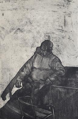 Sale 9249A - Lot 5066 - DEAN BROWN (1980 - ) The Punter etching, ed. 15/15 20 x 13 cm (frame: 47 x 36 cm) signed lower right