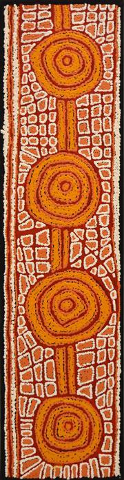 Sale 8321 - Lot 589 - Walangkura Napanangka (c1946 - 2014) - Womens Dreaming 120 x 30cm (framed & ready to hang)