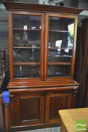 Sale 8390 - Lot 1023 - Victorian Mahogany Bookcase, with two astragal panel doors, long drawer & two panel doors