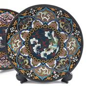 Sale 8545N - Lot 14 - Pair of C19th Cloisonne Chargers (D: 31cm)