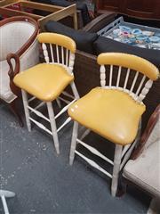 Sale 8676 - Lot 1317 - Set of 4 Upholstered Kitchen Stools