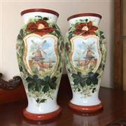 Sale 8795K - Lot 252 - A pair of hand-painted Dutch milk vases