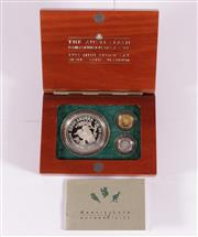 Sale 9035M - Lot 812 - The Australian Family of Precious Metal Coins 1993 Mini proof set cointaing 1 x 1oz Kookaburra 999silver, 1x 1/20 oz Kangaroo nugget...