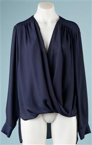 Sale 9090F - Lot 71 - A FRENCH CONNECTION WRAP BLOUSE; in navy blue with little clasp to front, button up sleeves and long back, size 12-14