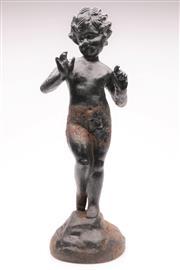 Sale 9060 - Lot 15 - A Cast Metal Statue of a Boy (H 50cm)
