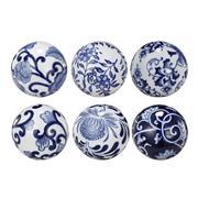 Sale 9075T - Lot 68 - Set of six porcelain Decorative Blue & White Orbs. 7.5cm
