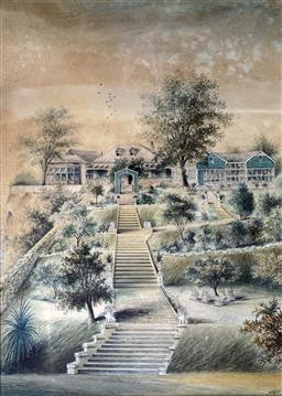 Sale 9214A - Lot 5021 - WILLIAM TIBBITS (1837 - 1906) House in Sydney, c.1889 watercolour 62.5 x 44 cm (frame: 101.5 x 82.5 cm) signed W Tibbits, 856 lowe...