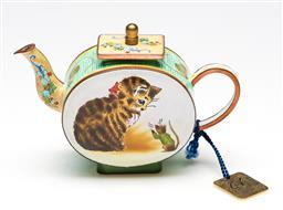 Sale 9246 - Lot 42 - An enamelled miniature cat and mouse themed teapot (H:8cm)
