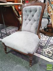 Sale 8424 - Lot 1032 - Button Back Bedroom Chair in Blue Upholstery