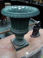 Sale 8598 - Lot 1084 - Campagna Form Green Painted Cast Iron Garden Urn, with fluted body having draining holes & on round foot