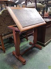 Sale 8617 - Lot 1038A - Victorian Oak Writing or Reading Stand, the inset leatherette top adjustable, above a turned rail & square supports with stretcher