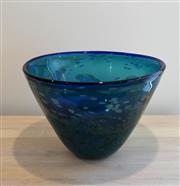 Sale 8858H - Lot 62 - Large Hand Blown Art Glass Bowl in Ocean Tones, H 24 x D 36 cm -