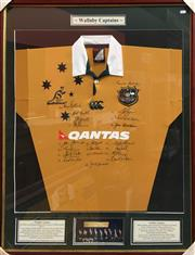 Sale 8863S - Lot 19 - Wallaby Captains Signed Jersey 2004, in frame