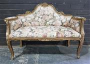 Sale 8959 - Lot 1093 - Small Gilt French Settee (H:82 x L:108cm)