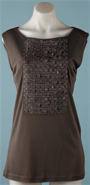 Sale 9090F - Lot 98 - A RAZZA SEMPIONE GREY SLEEVELESS TOP; having woven grosgraine ribbon panel to front, 100% viscose, size 46