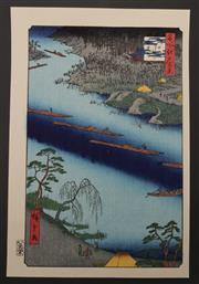 Sale 9060 - Lot 27 - Woodblock print marked Hiroshige, of the Kawaguchi ferry and Zenkoji temple from the 100 views of Edo series (38cm x 25.5cm)