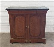 Sale 9080 - Lot 1008 - A marble top inlaid timber cabinet with two doors (h:101 x w:107 x d:41cm)