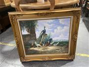Sale 9082 - Lot 2058 - A C19th Style painting of a Peacock and Chickens frame: 71 x 79cm