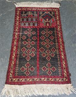 Sale 9121 - Lot 1077 - Possibly Afghan tribal wool carpet in black & red tones (140 x 85cm)