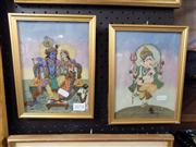 Sale 8429A - Lot 2078 - 2 Indian Paintings; The Lovers & Ganesha