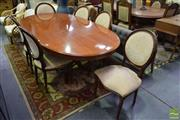 Sale 8523 - Lot 1046 - Extension Dining Table On Pedestal Base With Six Chairs