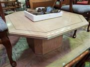 Sale 8601 - Lot 1119 - Brass Inlaid Solid Oak Octagonal Coffee Table
