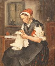 Sale 8642 - Lot 571 - Karoly Krusynyak (1889 - 1960) - Woman Sewing 57.5 x 47cm