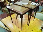 Sale 8657 - Lot 1039 - Nest of 2 Leather Top Occasional tables