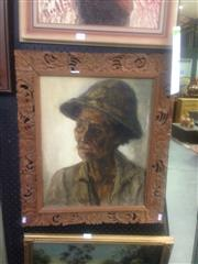 Sale 8655 - Lot 2049 - Artist Unknown (Indonesian School) Portrait of the Grandfather, 1974 oil on canvas, 65 x 55cmm (frame)