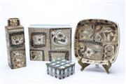 Sale 8725 - Lot 3 - Royal Copenhagen Suite inc Vases (H 19cm and 14cm) A Dish (Dia 18cm) and A Small Lidded Example ( Dia 8cm)