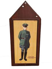 Sale 8809B - Lot 601 - Ernest Udet. Germanys 2nd Highest Scoring Fighter Pilot Ace of 62 Victories. Double Sided Hand Painted Plaque. B.R Moss (126 x 57cm)