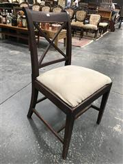 Sale 8868 - Lot 1066 - Set of Four George III Mahogany Dining Chairs, with cross backs, drop in seats & tapering legs