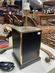 Sale 8908 - Lot 1076 - Black leather and brass effect table Lamp by Riccardo, height 47cm
