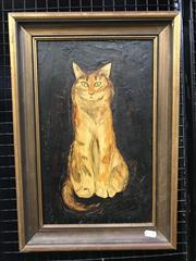 Sale 9024 - Lot 2004 - Sue Nagel, Our Cat, 1972, ink and enamel on board, 50 x 34cm (frame0