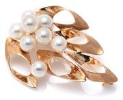 Sale 9083 - Lot 336 - A 14CT GOLD PEARL BROOCH; spray form set with 8 fine cultured pearls, 7 - 7.9mm round of pink white colour and very good lustre (few...