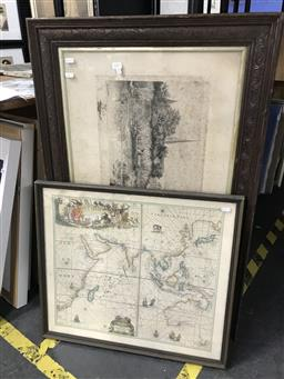 Sale 9113 - Lot 2057 - An assortment of etchings, decorative print, map & Japanese works on paper, various condition issues