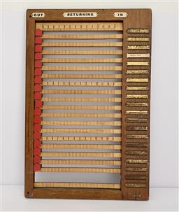 Sale 9142A - Lot 5013 - American Timber Office In/Out Time Board - Buffalo, NY, 52 x 34 x 2 cm.