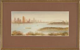 Sale 9155 - Lot 2063 - ANDREW WROZ - Sydney Harbour at Dawn from Mosman Bay 16.5 x 39 cm (frame: 35 x 55 x 2 cm)