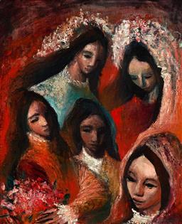 Sale 9155 - Lot 2056A - WILLIAM DREW - Festival Heads 29 x 25 cm (frame: 49 x 44 x 4 cm)