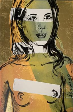 Sale 9214A - Lot 5023 - DAVID BROMLEY (1960 - ) Jana acrylic and gold leaf on canvas 90 x 60 cm signed lower right