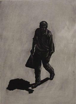 Sale 9249A - Lot 5069 - DEAN BROWN (1980 - ) The Bagman etching, ed. 10/15 29 x 21 cm (frame: 56 x 44 cm) signed lower right