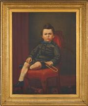 Sale 8459 - Lot 576 - C19th School (XIX) - Portrait of a Boy with Trumpet 90 x 70cm