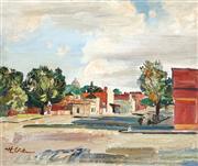 Sale 9038 - Lot 561 - Harald Vike (1906 - 1987) - Morning Street Scene, South Melbourne, 1955 45 x 55 cm (frame: 60 x 68 x 4 cm)