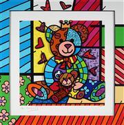 Sale 9047A - Lot 5005 - Romero Britto (1963 - ) - Teddy 55.5 x 55.5 cm (frame: 75 x 75 x 6 cm)