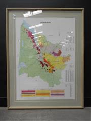 Sale 8498 - Lot 1753 - Official Classification of the Wines of Bordeaux Map by Provicarte 1987, framed reprint (110 x 75cm)
